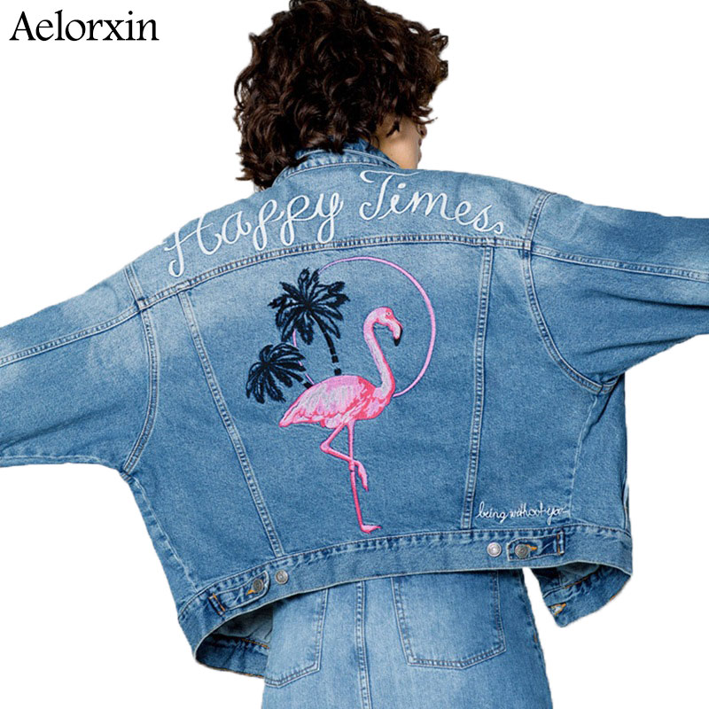 Aelorxin 2019 Jarní žena Jean Jacket Vintage jeřáby dopis výšivky příležitostné dvojité kapsy džínové bundy ženy bunda kabát