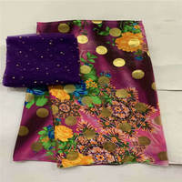5+2 Yards High Quality Silk Fabric For Lady Dress Embroidered Silk Fabric African Metallic Silk Fabric ! J61206