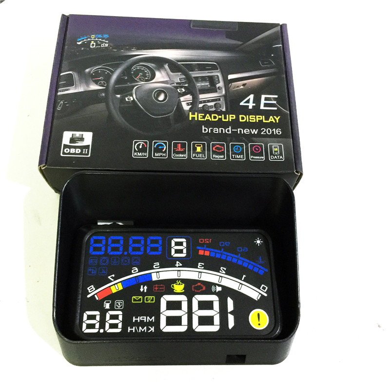 Universal Car HUD Head UP 5.5 LCD Display OBDII Car Styling Car Kit fuel Overspeed Speedometer Warning System ASH 4E OBDII