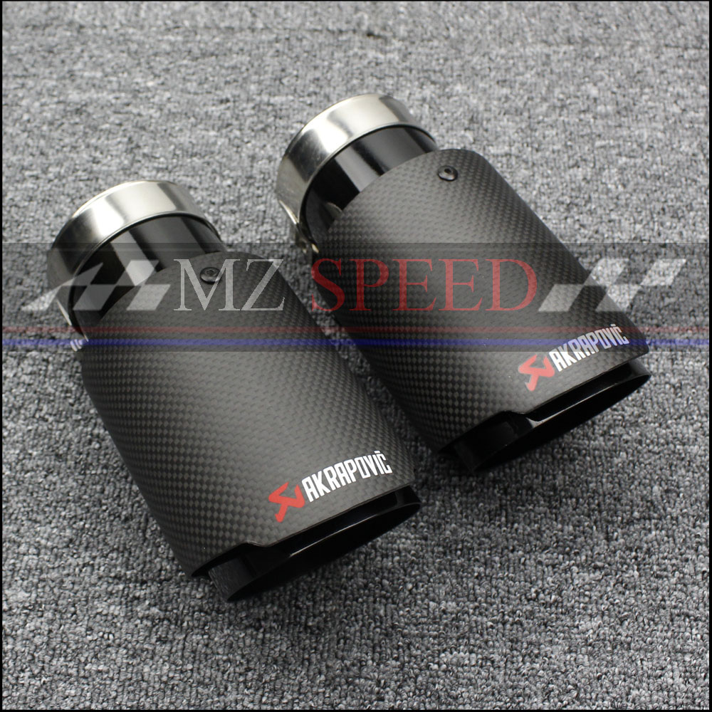 car styling 1 PCS Carbon Fiber Coated Stainless Steel Universal Car Exhaust Pipe Tip Tailtip Akrapovic Car Exhaust Muffler Tip