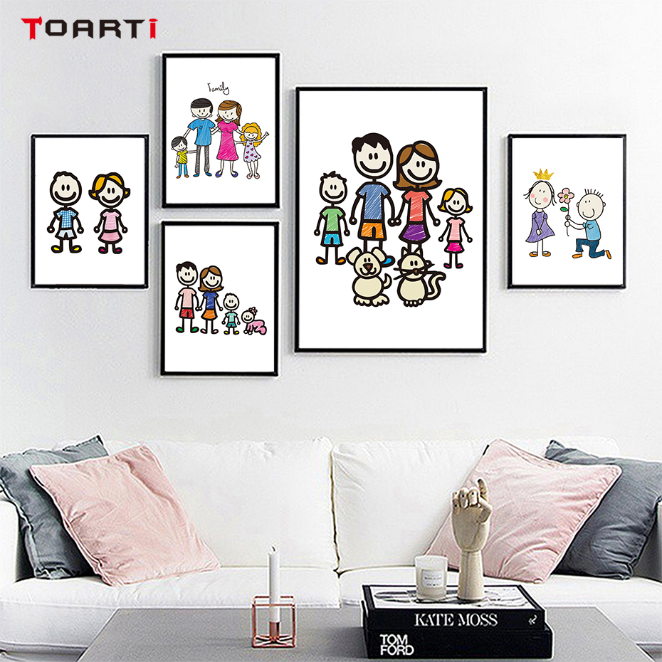 Colorful Vintage Room: Aliexpress.com : Buy Lovely Cartoon Family Wall Art