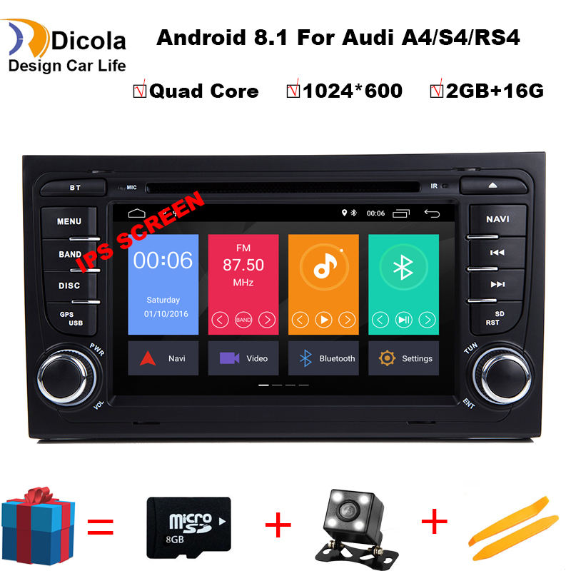 Free Camera 1024 600 Quad Core Android 8 1 Car DVD Player for Audi A4 2002