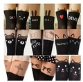 Sexy Women Cat Tail Gipsy Mock Knee High Hosiery Pantyhose Panty Hose Tattoo Tights Hot Selling