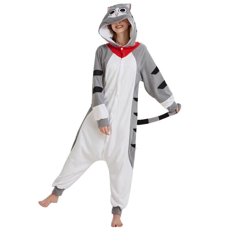 Cartoon Cheese Cat Onesie Kigurumi Jumpsuit Adult Pajamas Women Kitty Sleepwear Men Pyjamas Cosplay Halloween Carnival Party (4)
