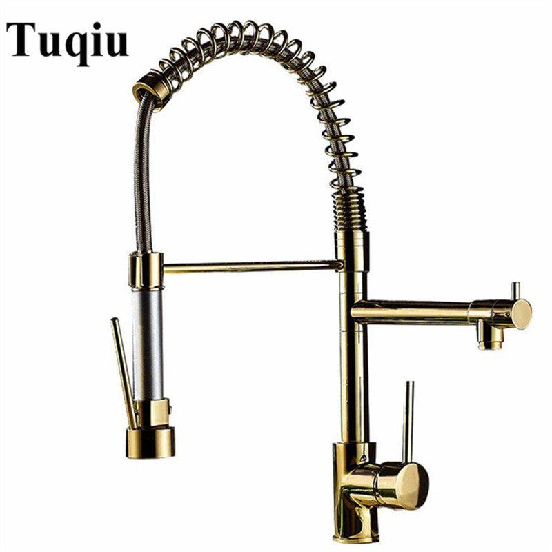 Permalink to Kitchen Faucet Gold Brass Pull Down Kitchen Faucet Sink Mixer Tap Hot Cold Pull Out Spring Spout Unique Design Kitchen Faucet