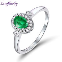 Unique Solid 18Kt White Gold Oval 4x6mm Emerald Promise Ring Fashion Ring WU259