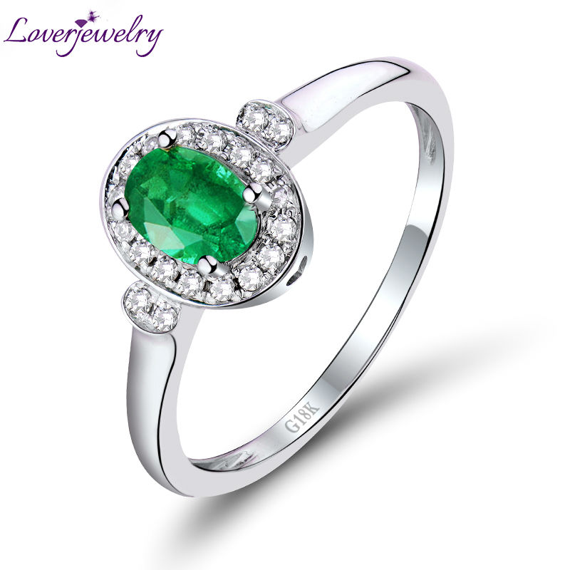 Unique Solid 18Kt White Gold Oval 4x6mm Green Emerald Promise Ring Good Quality Gemstone Fine Jewelry for Women WU259