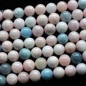Image 2 - Meihan großhandel (32 perlen/set) 12mm natürliche beryll glatte runde lose perlen für schmuck DIY machen halskette