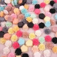 Caliente venta 100 unids/lote resina artesanía Color mezclado Rose Flower Flatback Cabochon Scrapbooking Fit teléfono decoración Diy artesanía 19 mm