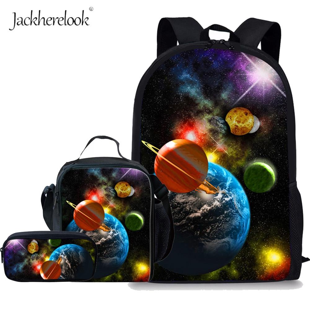 Jackherelook Fashion Children Outer Space Planet Printing School Bags for Teenage Girls Boys Schoolbag Kids Backpack Mochilas