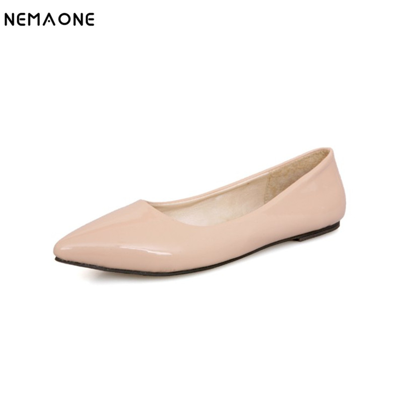 NEMAONE fashion women shoes woman flat shoes high quality comfortable pointed toe women sweet flats hot sale shoes size 35-43 2017 new fashion spring ladies pointed toe shoes woman flats crystal diamond silver wedding shoes for bridal plus size hot sale