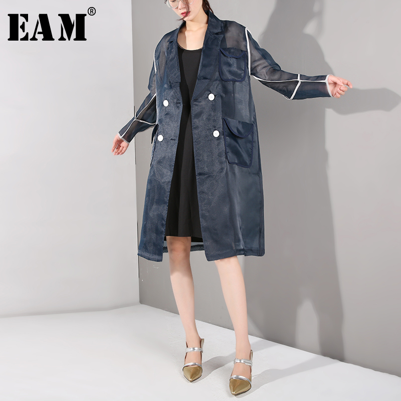 [EAM] 2019 New Spring Summer Lapel Long Sleeve Organza Split Joint Three-dimensional Windbreaker Women   Trench   Fashion JR4481