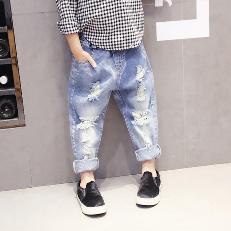 Marka Chłopcy Dziewczęta Zgrywanie Dżinsy Moda Dzieci Złamane - Ubrania dziecięce - Zdjęcie 1