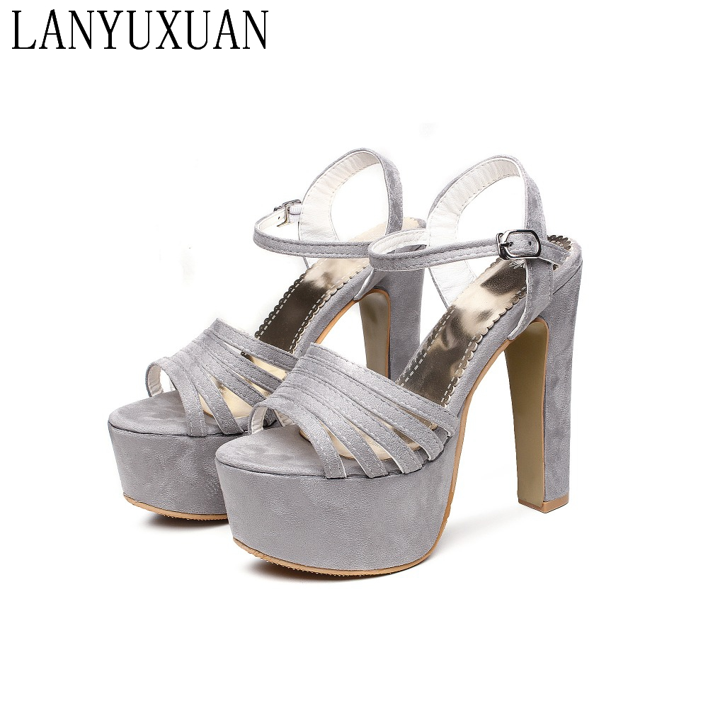 Big Size 31- 48 leather Sandals Ladies Platforms lady Fashion Dress Sexy Super High Heel(14.5CM) Shoes Women Party wedding 206 все цены