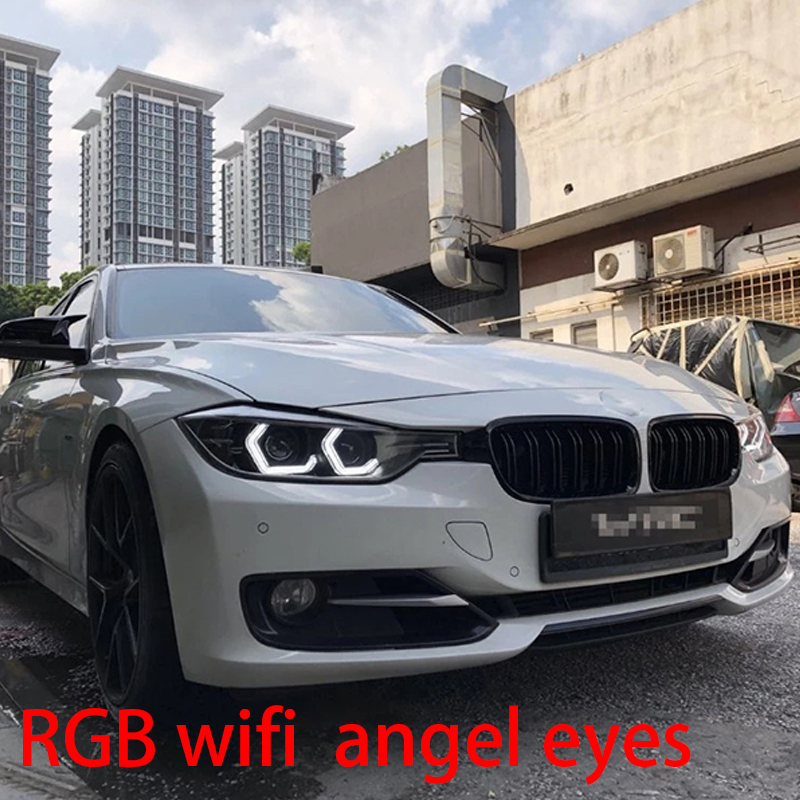 WIFI RGB Multi-color Concept M4 Iconic Style Crystal LED Angel Eye Kits for BMW 3 series F30 320i 328i 335i 330i 340i 318i 340i metal car styling auto 3d letter trunk lid rear sticker emblem decal badge for bmw 328i 330i 335i 340i 3 series gt x3 z3 e39 e38