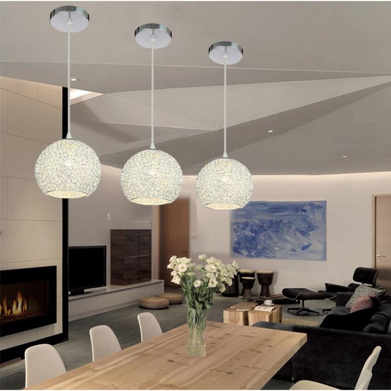US $24.0 54% OFF Modern Pendant Light Kitchen Island Ceiling Lamp Bedroom  Silver Lighting Bar Aluminum Lights Home Indoor Lights Bulb For Free-in ...