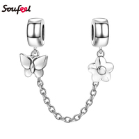 SOUFEEL Safety Charm 925 Sliver Butterfly and Flower Safety Chain Silver for Bracelet Lovers Gift