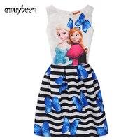 Amuybeen Girls Dress 2017 Summer Butterfly Print Anna Elsa Princess Dress For Girls Casual Costume 10