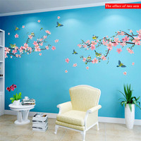 Sakura Wall Stickers Decal Bedroom Living room DIY Flower Removable PVC Art wallpaper Beautiful home decorations Stickers Decals