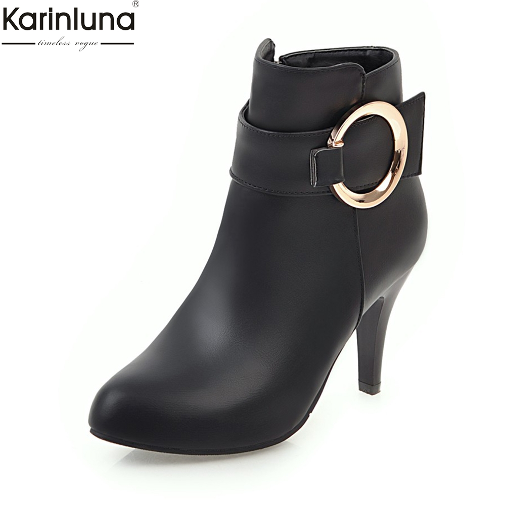 KARINLUNA new arrivals dropship plus sizes 31-43 Ankle Boots Woman Shoes Fashion high heels buckles women shoes black redKARINLUNA new arrivals dropship plus sizes 31-43 Ankle Boots Woman Shoes Fashion high heels buckles women shoes black red
