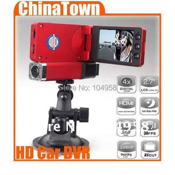 2.5inch LCD Screen 1080P HD Dual Camera DVR Car Vehicle Video Audio Recorder(Red ,Black)