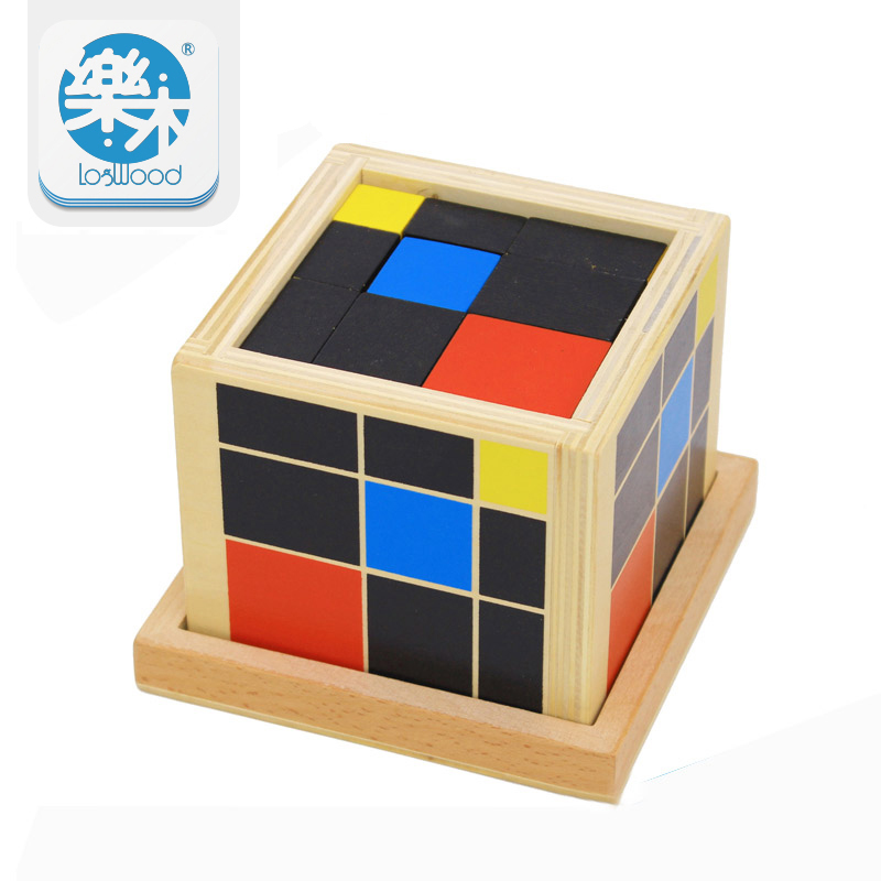 купить Montessori Educational Wooden toys Trinomial Cube Magic toys for children Kids Toys Math Learning Creative oyuncak недорого