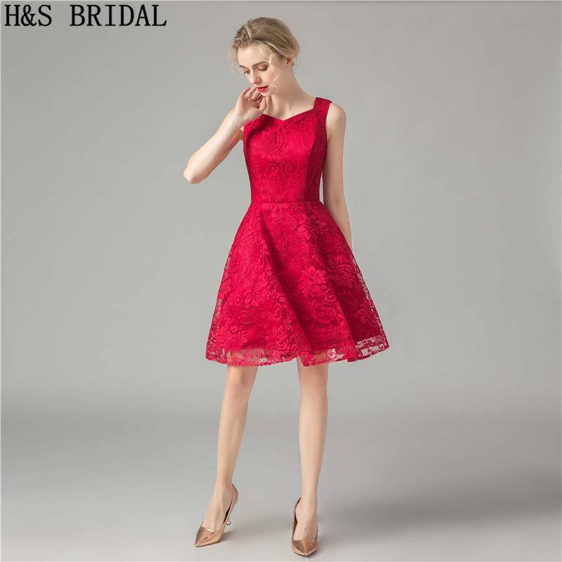 H&S BRIDAL   Cocktail     Dresses   Red Lace A line Short Prom   Dresses   For Juniors Sleeveless Knee Length Party Gowns Vestidos