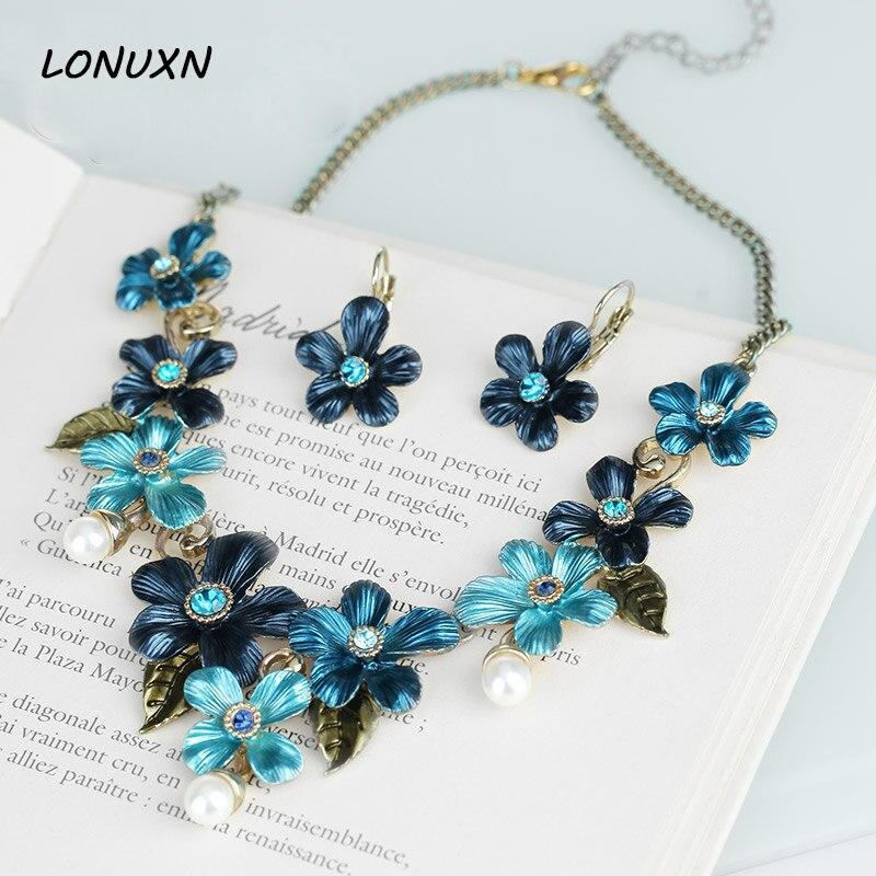 Bijoux de mariée bleu cristal perle feuilles 2 pièces boucles d'oreilles + collier mariée grandes fleurs ensembles de bijoux amoureux meilleur cadeau de mariage