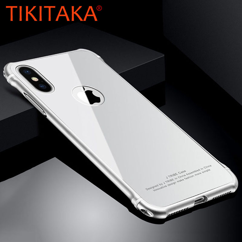 Luxury Metal Frame + 9H Tempered Glass Back Cover For iphone X 8 7 6 6s Plus Case Ultra thin 2 in 1 Shockproof Armor Phone Cases