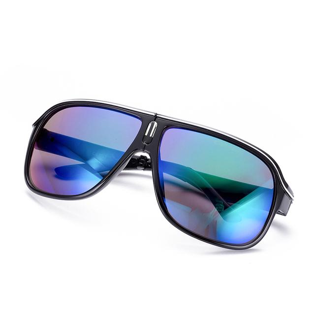 Homem moda Dobrável Óculos De Sol Grande Armação Dos Óculos Mostrar Masculinidade Reflective Coating Lens Óculos de Sol