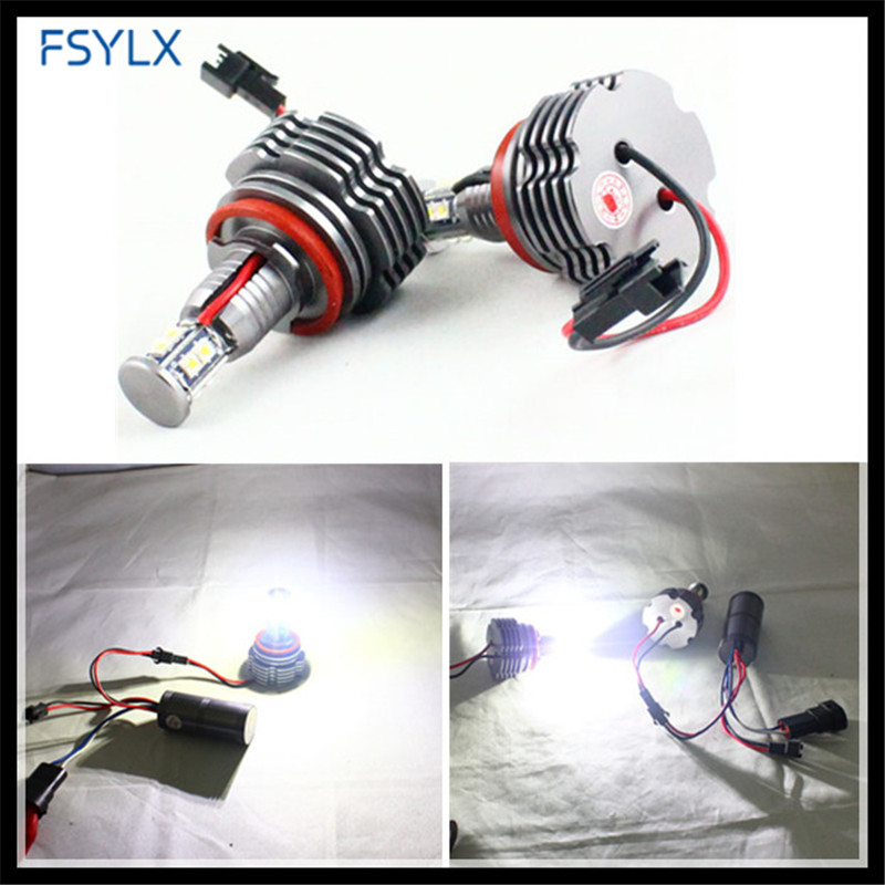 FSYLX H8 80W LED marker LED Angel Eyes for BMW E87 E82 E92 E70 E90 E91 E60 E61 E63 E64 X5 X6 Car LED Marker angel eyes bulb new e39 rgbw ir remote control led marker angel eyes for bmw e87 e60 e61 e63 e64 e65 e66 e53 e83 x5 rgb color changing lighting