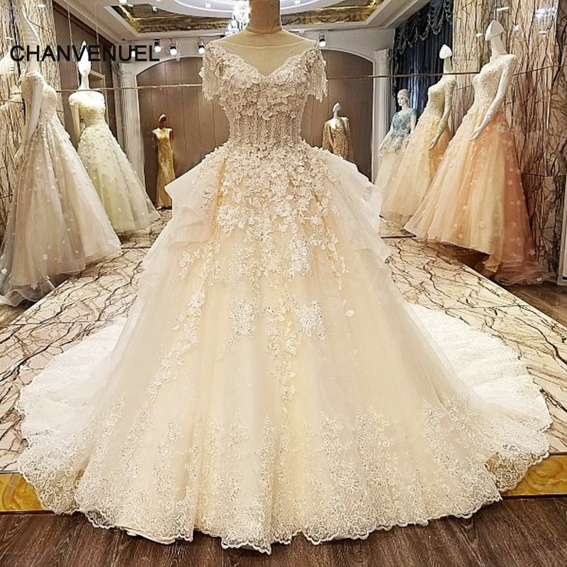 LS59830 Unique Wedding Dresses Beading Ball Gown Lace Up Back High Neck Short Sleeves Abito Da Sposa 2017 Real Photos In From Weddings