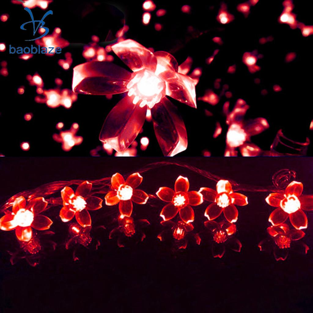 Baoblaze Energy-Saving White/Red 40 LED Battery Peach Blossom String Light for Diwali Festivals Parties BBQ Background Decor