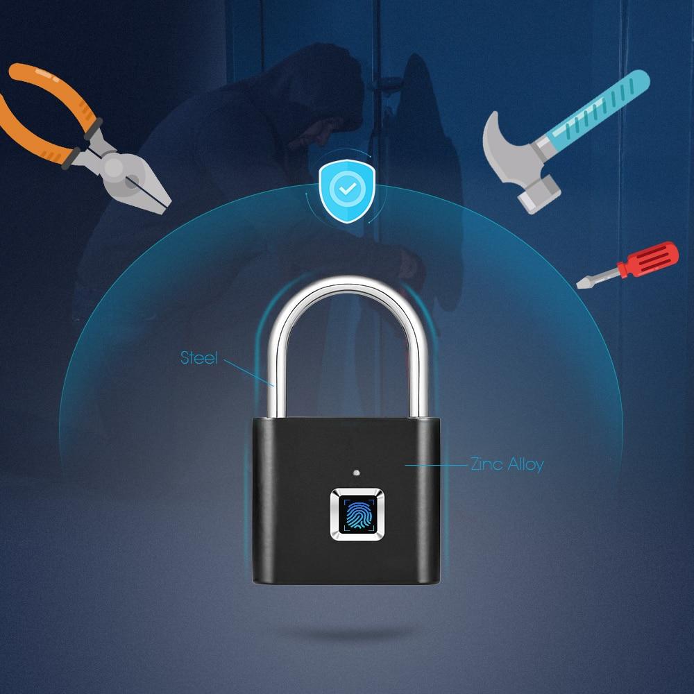 Goldene Sicherheit Keyless USB Aufladbare T rschloss Fingerprint Smart Vorh ngeschloss Schnell Entsperren Zink legierung Metall