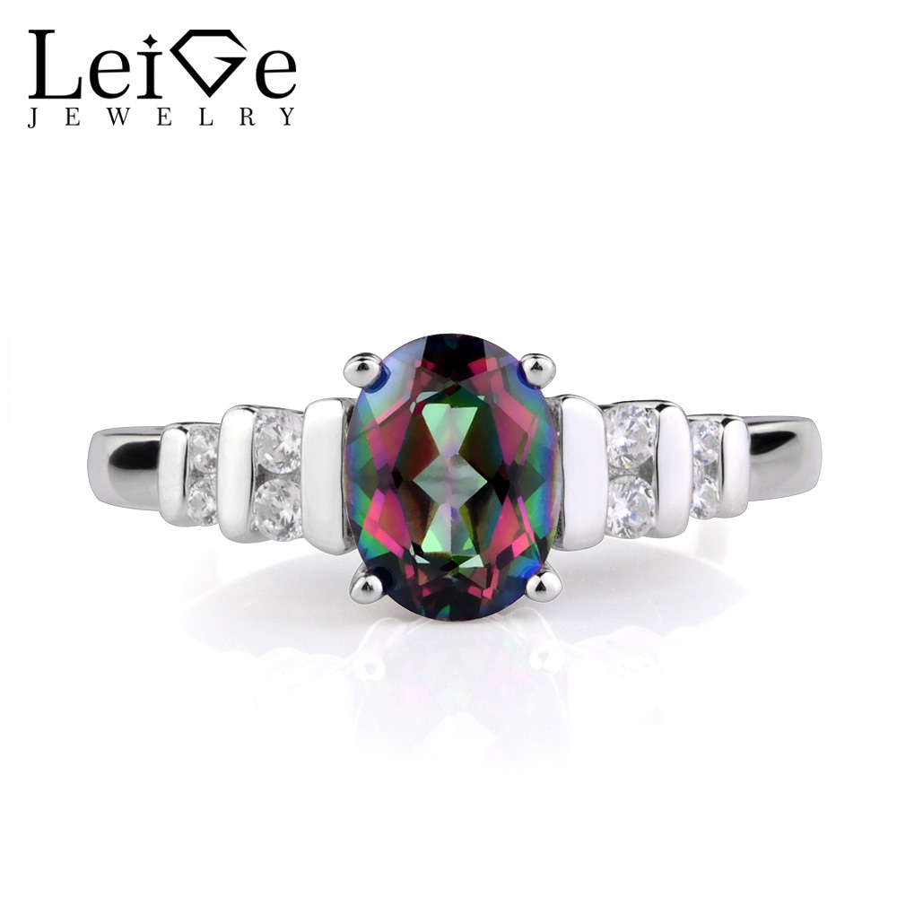 Leige Jewelry Rainbow Mystic Topaz Rings for Women Engagement Promise Ring Oval Cut Gemstone Sterling Silver 925 Fine Jewelry leige jewelry swiss blue topaz ring oval shaped engagement promise rings for women 925 sterling silver blue gemstone jewelry