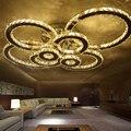 Cristal moderna levaram luzes de teto para o quarto sala de estar Círculo Anéis Cristais avize Interior Dezembro Moderna Lâmpada Do Teto Luminárias