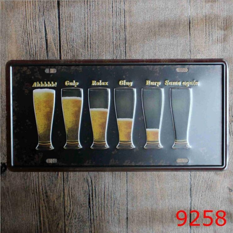 30x15cm Beer License Plates Funny Metal Tin Sign Retro Posters Pictures Paintings Cafe Bar Wall Home Art Decor Signs
