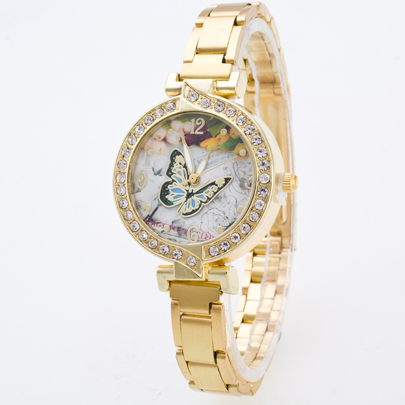 New Ybotti Brand Women Gold Small Dial Butterfly Multi-style Casual Quartz Watch Women Stainless Steel Watches Relogio Feminino new ybotti famous brand gold crystal butterfly casual quartz watch women stainless steel watches relogio feminino clock hot sale
