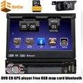 7 pulgadas Universal Audioradio 1Din Coches Reproductor de DVD de Navegación GPS del coche reproductor Multimedia Estéreo + Bluetooth + DVD Del Automóvil + SD + USB + GPS