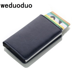 Weduoduo 2018 Men And Women Credit Card Holder RFID Aluminium Business Card Holder Crazy Horse PU Leather Travel Card Wallet