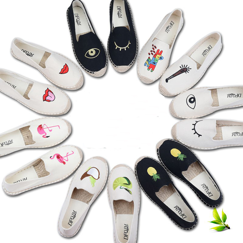 Women Fisherman Loafers Linen Canvas Espadrilles Flats Heels Slip On Eye Embroidery Flamigo Hemp Rope Handmade Black White Shoes alice olivia повседневные шорты