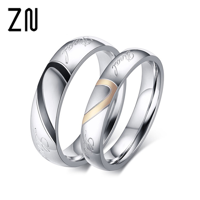 stainless steel couple ring jewelry wedding rings men women ring sets romantic heart jewelry couples ring - Men And Women Wedding Rings