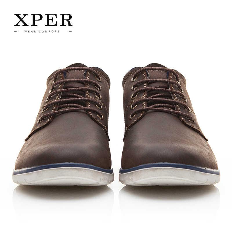 1c3d9129d ... XPER брендовая мужская обувь из натуральной кожи осень-зима Мужские  ботинки 100% кожа коровы ...