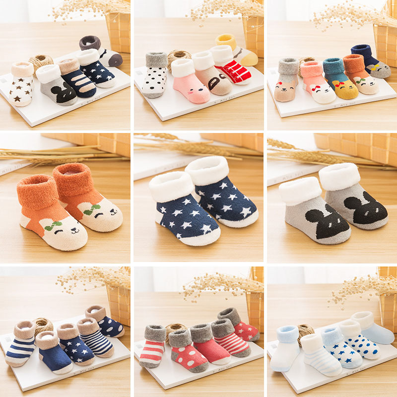 Winter new baby socks all cotton thickened wool socks Korean cartoon socks pure cotton socks wholesale цена