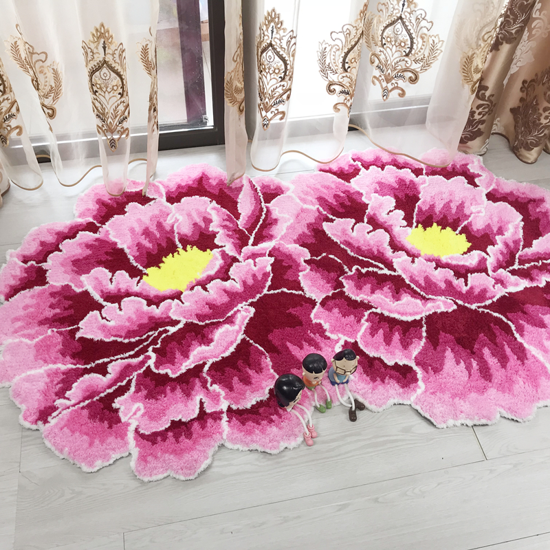 Chinese Style Red Peony Flower Carpet Thick Livingroom And Bedroom Area Rug Pink Flower Door Mats Wedding Parlor Hallway Rugs