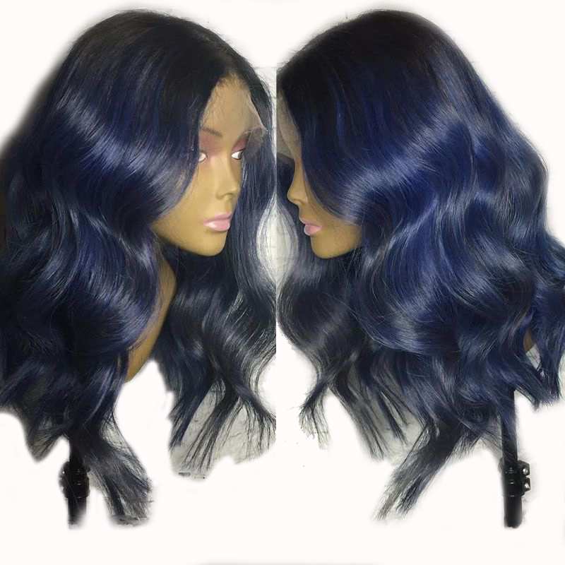 13x6 Blue Human Hair Wig Preplucked Baby Hair Lace Front Human Hair Wigs 150% Body Wave Remy Brazilian Colored Wig For Black