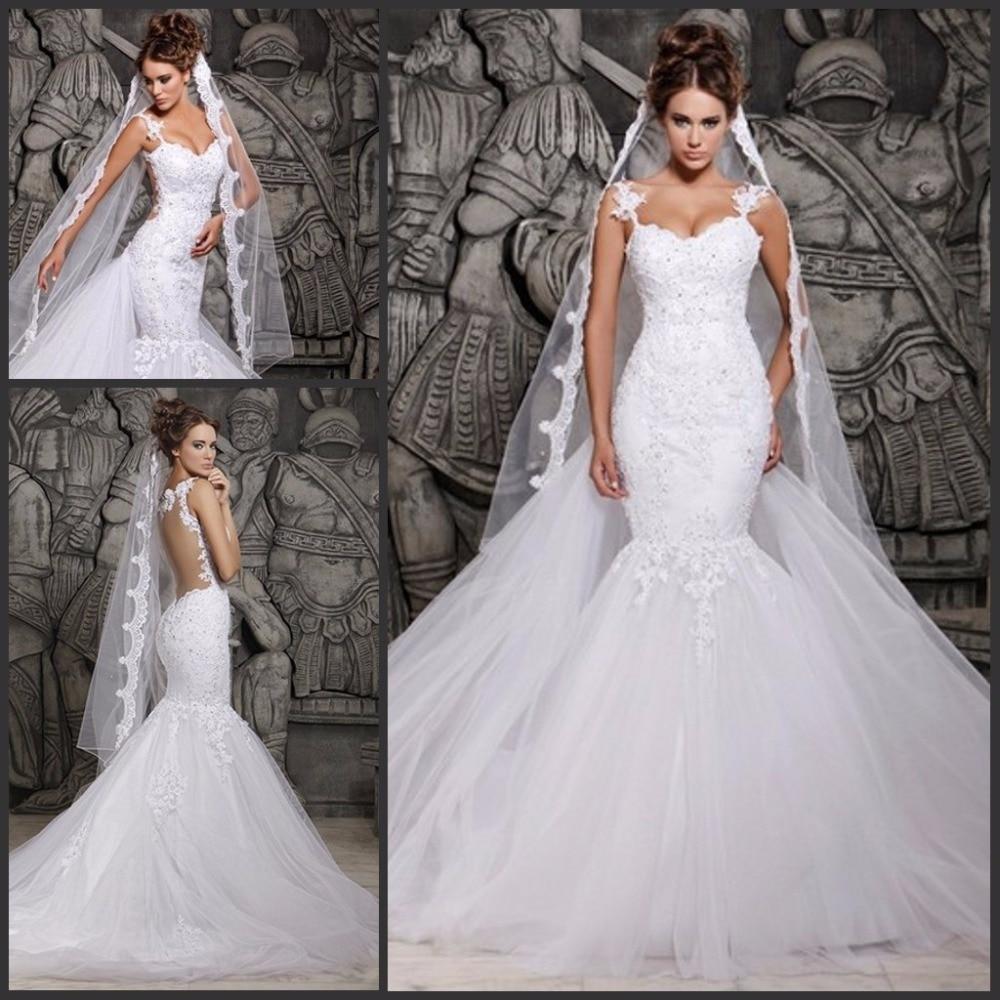 vestido de noiva spaghetti mermaid wedding dresses sexy backless bridal gowns vintage beading lace best bridal