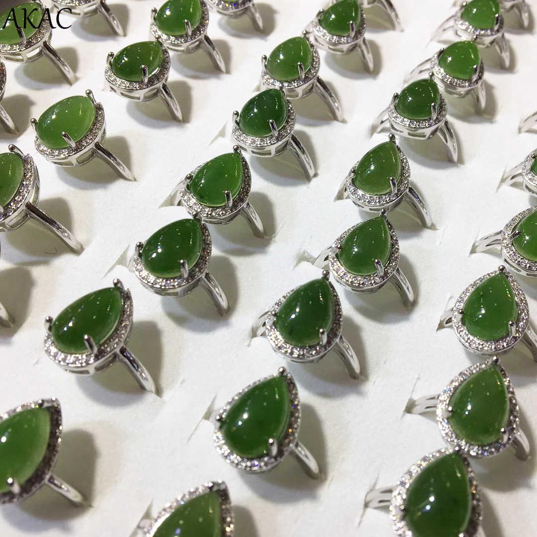 AKAC ธรรมชาติ 925 เงินสเตอร์ลิงแหวนผู้หญิงธรรมชาติ hetian หยกผู้หญิงแหวนปรับ teardrop แหวน