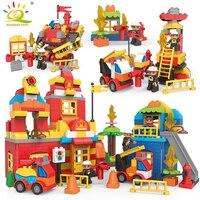 DIY Big Bricks Fire Station Truck car with Figures Building Blocks Compatible Legoed Duploed City Firefighter Toys For Children