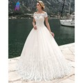 Vestido De Noiva Short Sleeve Lace Appliques Wedding Dresses Tulle Boat Neck Off the Shoulder Vintage Robe De Marriage